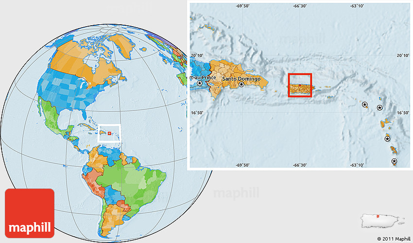 Highlighted With World Map Puerto Rico
