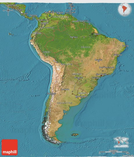 Satellite 3D Map of South America