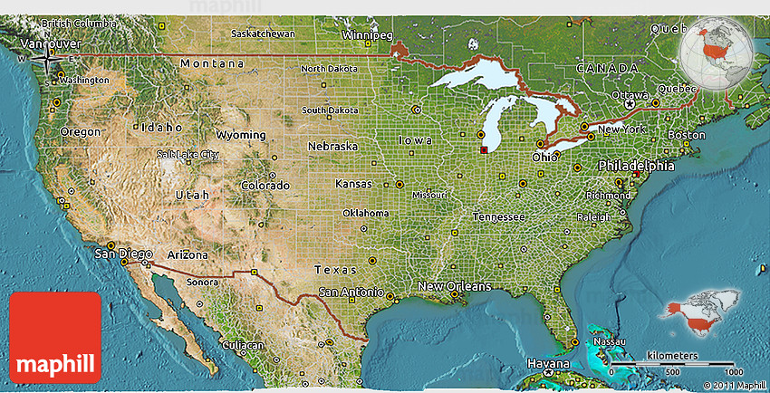 Satellite 3D Map of United States