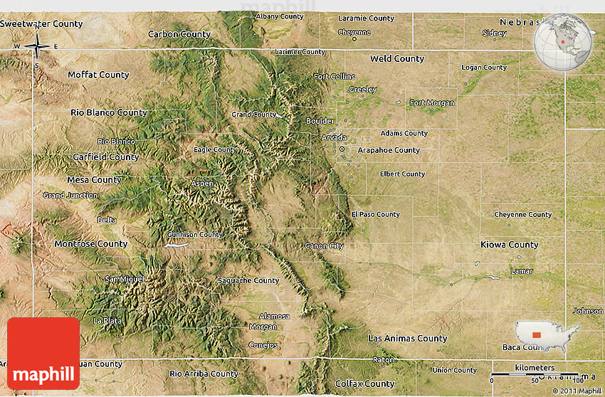Satellite 3D Map of Colorado