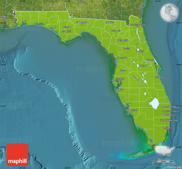 Physical Map of Florida  satellite outside 2D