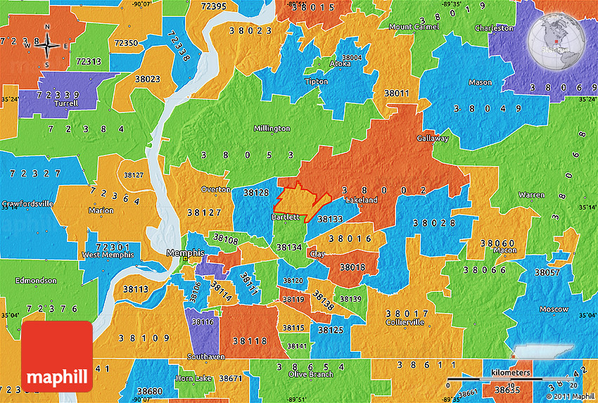 Shelby County Tennessee Zip Code Map
