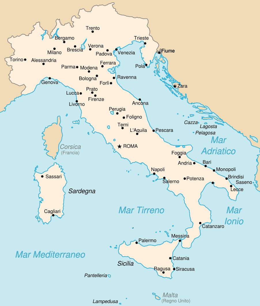 Map Italy Airports Large