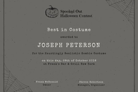 Customize 534  Award Certificate templates online   Canva Grey Halloween Costume Award Certificate