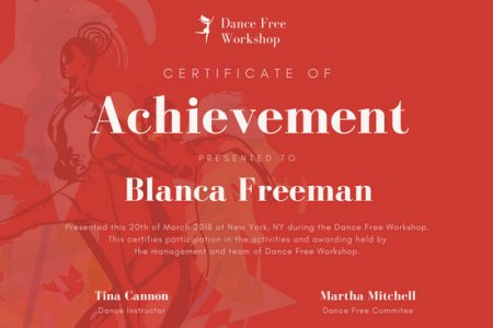 Customize 101  Achievement Certificate templates online   Canva Red Dance Achievement Certificate