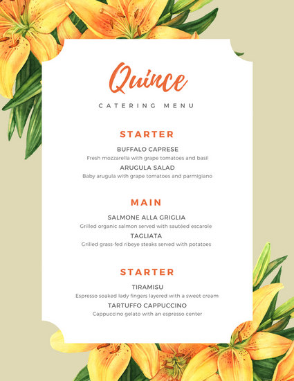 Catering Menu Ideas And Pricing