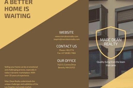 Customize 930  Brochure templates online   Canva Brown Yellow Modern Real Estate Trifold Brochure