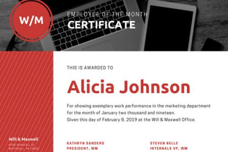 Employee of the Year Award Certificate   Templates by Canva Desk Photo   Red Employee of the Month Certificate