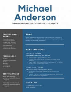 White Dots with Blue Shape Teacher Resume   Templates by Canva White Dots with Blue Shape Teacher Resume