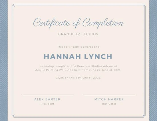 Customize 265  Completion Certificate templates online   Canva Blue Border Workshop Completion Certificate
