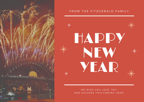 Customize 917  New Year Card templates online   Canva Red Photo New Year Card