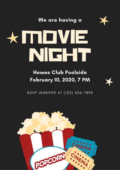 Customize 230 Movie Night Invitation Templates Online Canva
