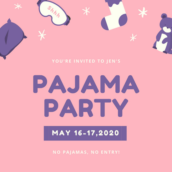 Customize 2 419 Pajama Party Invitation Templates Online Canva