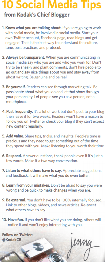 10 Social Media Tips from Kodak