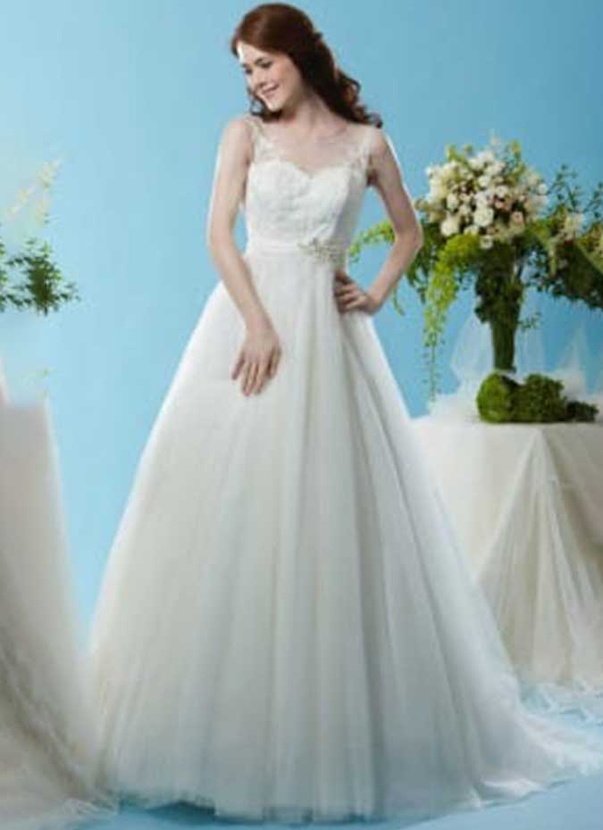 And Lace Line Soft Dress Neckline Fit Wedding Flare Sweetheart Embellished Tulle And