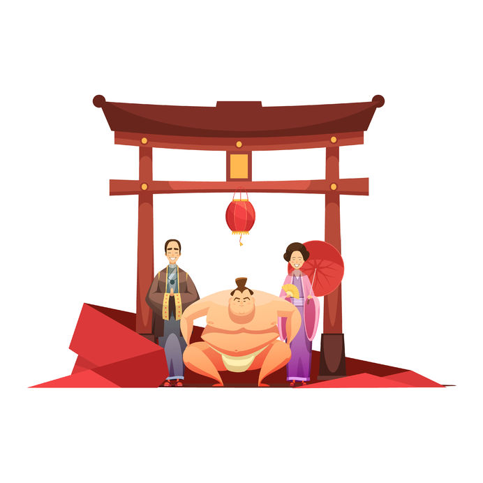 pagoda sumo wrestler and in kimono dressed couple cartoon