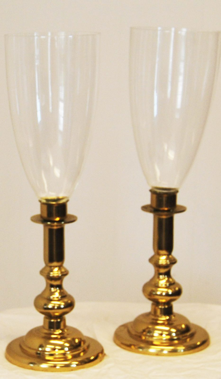 A Pair Of Victorian Style Hurricane Candle Holders