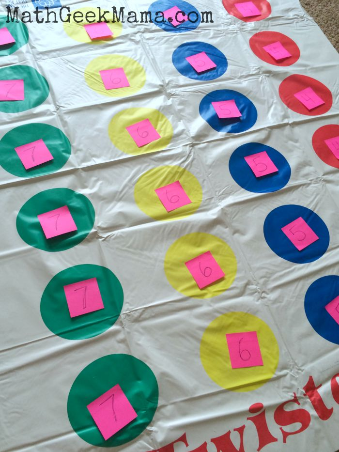Math Twister   A Fun Indoor Math Game   Use the classic game Twister to practice all sorts of math facts  A great  way