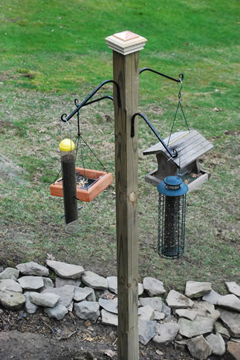 Wooden Post Bird Feeder
