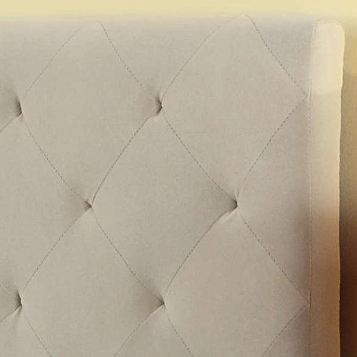 Modern Diamond Button Tufted Taupe Upholstered Padded