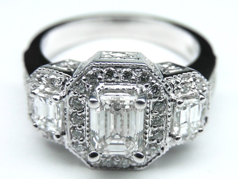 Engagement Ring  Vintage Style Three Stone Emerald Cut Diamond     Vintage Style Three Stone Emerald Cut Diamond Engagement Ring in 14K White  Gold