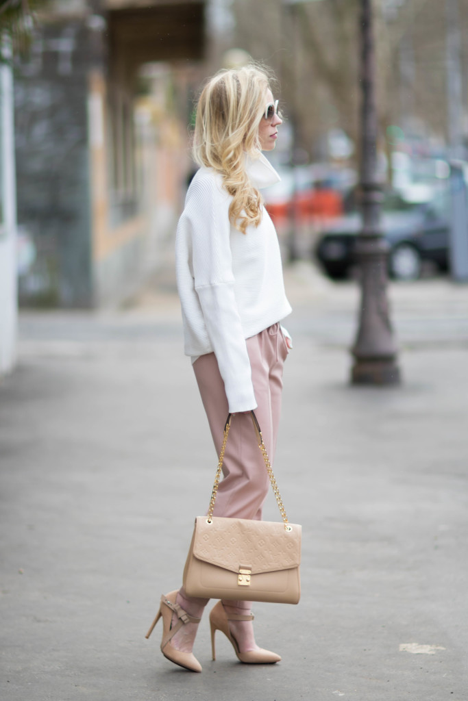 Blush Amp Bows Cowlneck Sweater Pink Pants Amp Nude Pumps