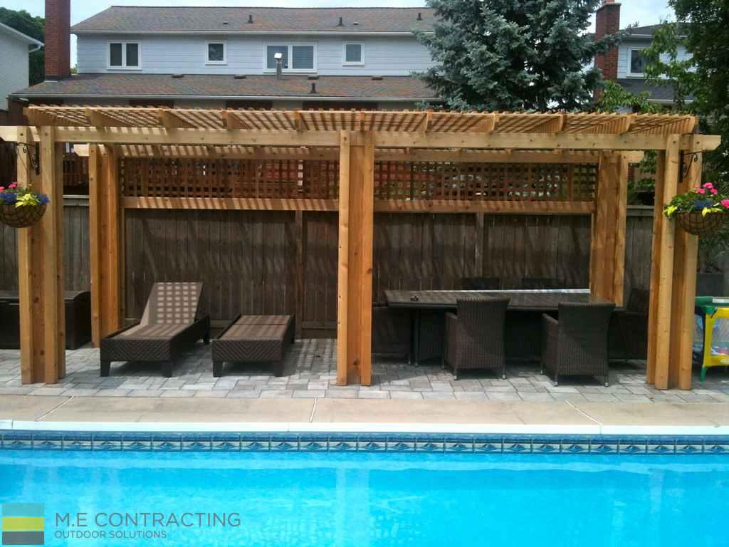Interlocking Pool Deck Cedar Pergola M E Contracting