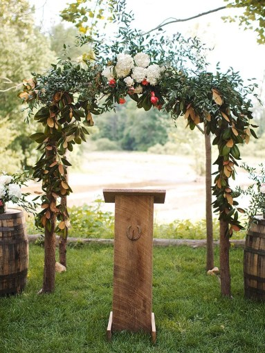 19 Ideas for an Outdoor Wedding Arbor Rustic natural wood and greenery wedding arch