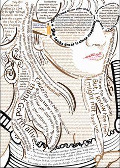 Self portrait created with song lyrics