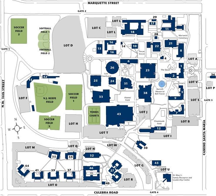 Campus Map Texas St Mary S San Antonio Pinterest