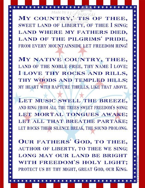Free Printable My Country Tis Of Thee I Love America