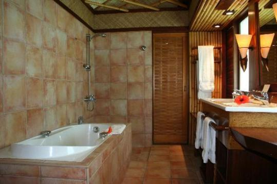 Bathroom  if you look you can see the set down of the shower     InterContinental Bora Bora Le Moana Resort  Bathroom  if you look you can  see the