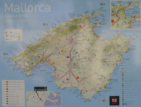 Map of Majorca cycle routes   at least some of them       Picture of     2go Cycling  Map of Majorca cycle routes   at least some of them