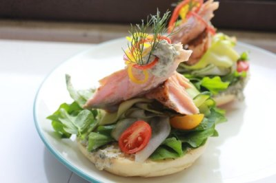Poached salmon on bagel - Taman Taksu Garden Cafe, Ubud ...