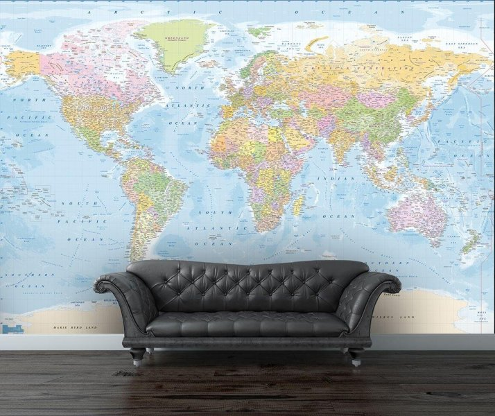 Buy 1Wall Map of the World Wall Mural   Murals and wall stickers   Argos 1Wall Map of the World Wall Mural