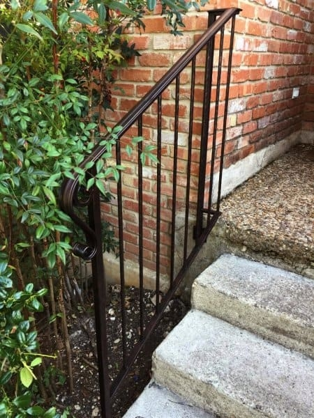How To Paint Wrought Iron Railings Angie S List | Iron Handrails For Outside Steps | Railing Systems | Front Porch | Aluminum Railing | Deck Railing