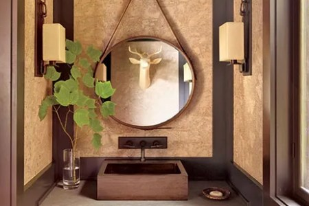 10 Easy Ways to Decorate with Country Style Photos   Architectural     Cork from Innovations in Wallcoverings sheathes a rustic powder room in an  upstate New York lake