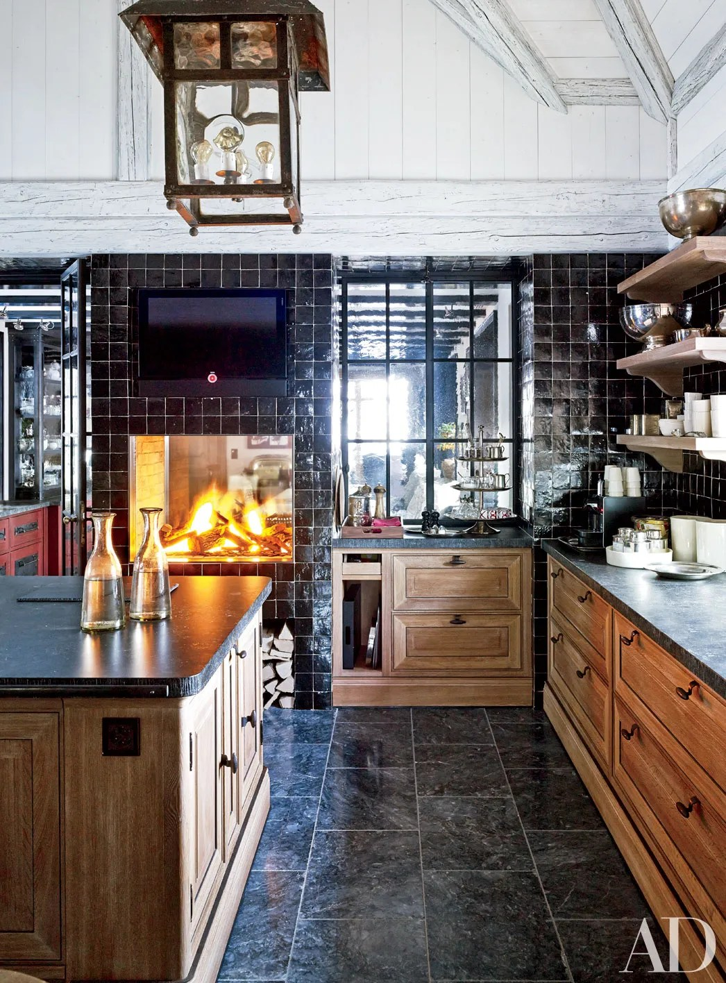 Kitchen Fireplace Home Design Ideas Photos Architectural