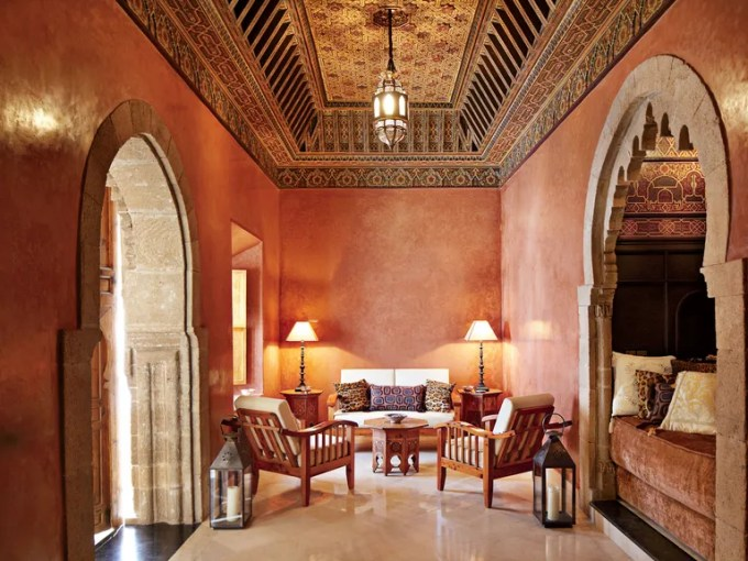 See How a Crumbling 18th Century Home in Morocco Went from Shambles     The seating in the ground floor salon is made of thuya wood  the walls