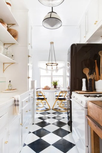 A Clever Kitchen Tile Solution   Architectural Digest Designer and homeowner Brady Tolbert used peel and stick tiles to cover the  linoleum
