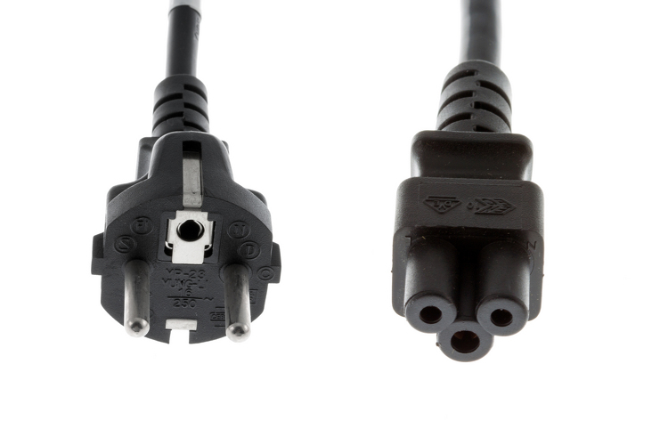 Ac Power Cord Cee7 7 To C5 18 Awg 2 Meters Black