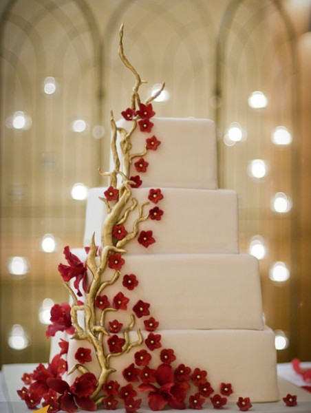 Top Red   Gold Cakes   CakeCentral com Square stacked wedding cake with gold branches  deep red blossoms and  orchids