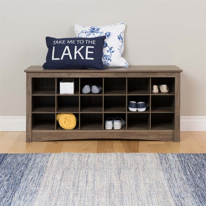 18 Cubby Shoe Storage Bench In Drifted Gray Dss 4824