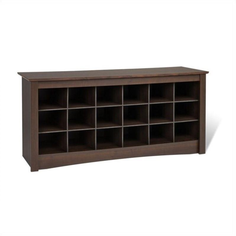 18 Cubby Shoe Storage Bench In Espresso Ess 4824