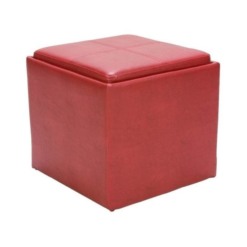 Leather Cube Storage Ottoman