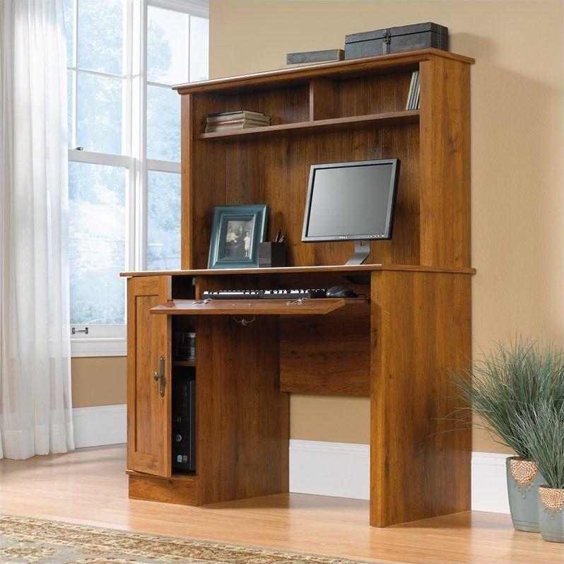 Wood Computer Desk With Hutch In Abbey Oak 404961