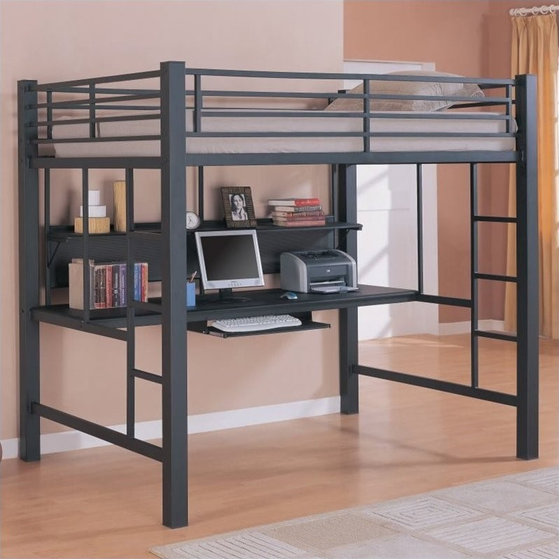 Full Size Metal Loft Bed With Computer Workstation In