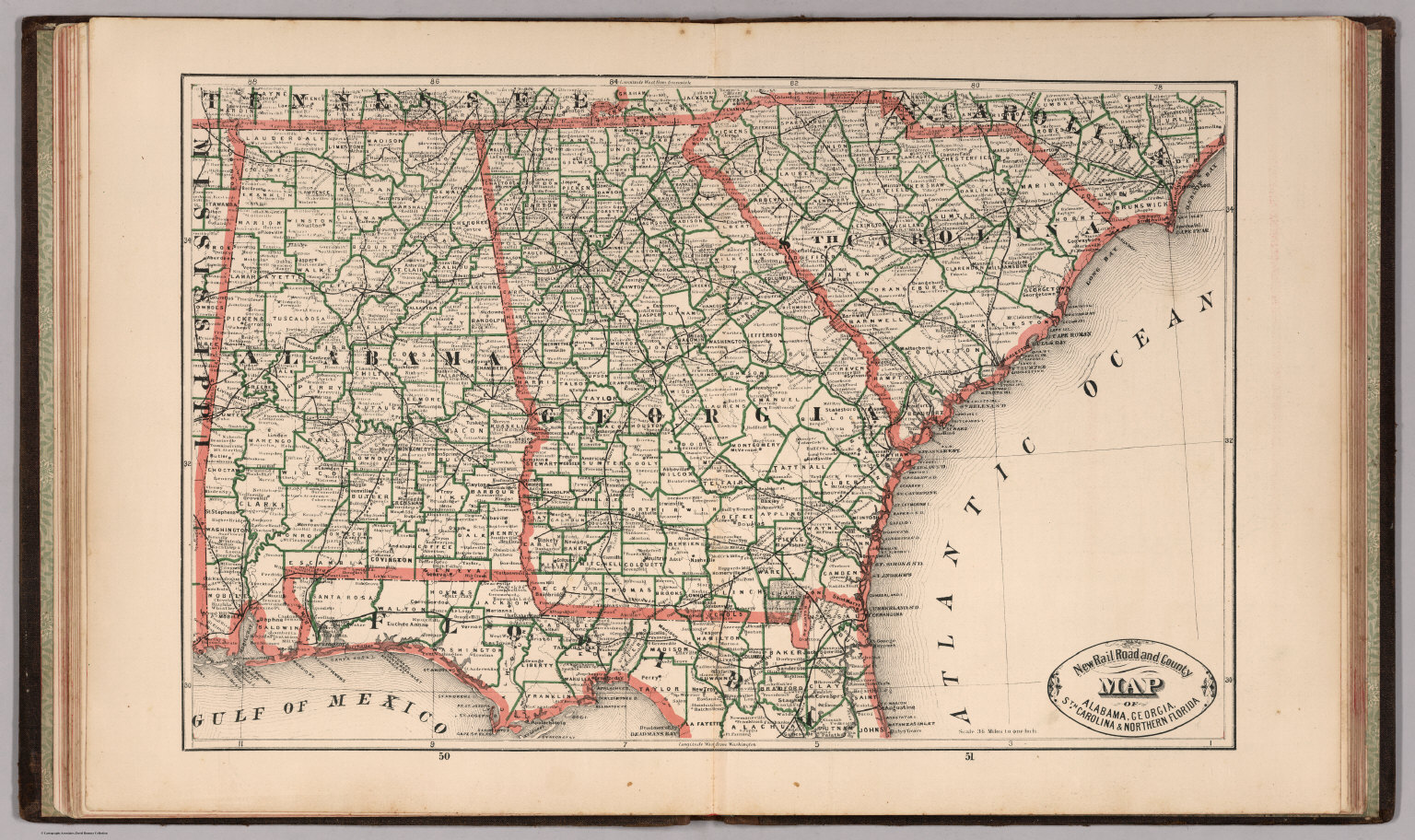 New Rail Road and County Map of Alabama  Georgia  South Carolina and     New Rail Road and County Map of Alabama  Georgia  South Carolina and  Northern Florida    David Rumsey Historical Map Collection