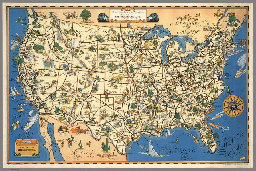 A good natured map of the United States setting forth the services     A good natured map of the United States setting forth the services of The  Greyhound Lines