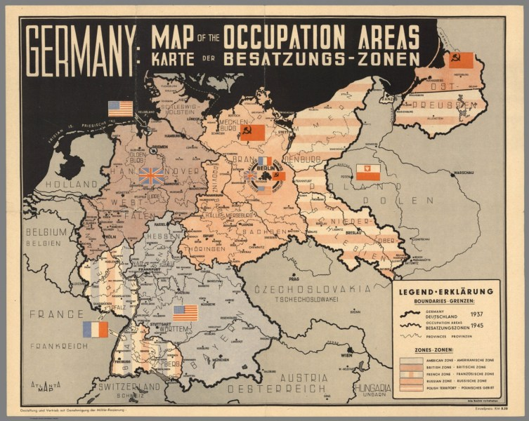 Germany  Map of the Occupation Areas  Carte der Besatzungs   Zonen     Germany  Map of the Occupation Areas  Carte der Besatzungs   Zonen